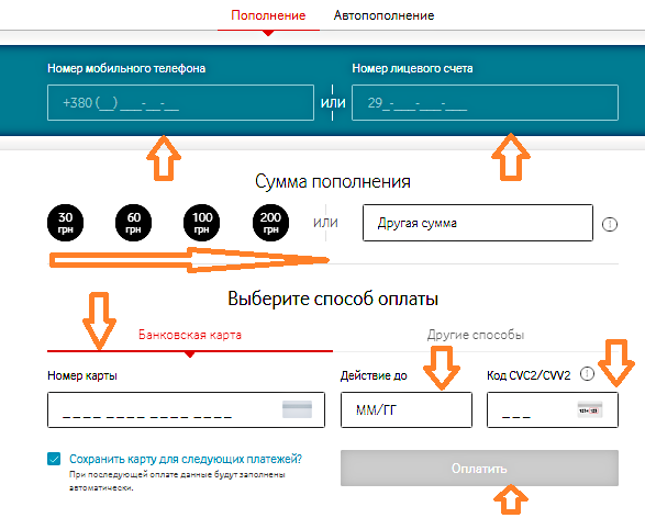 пополнить баланс единоразово с сайта МТС Украина
