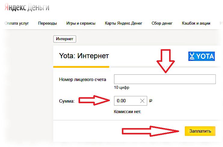 зачисление средств на счет Йота через Яндекс.Деньги.
