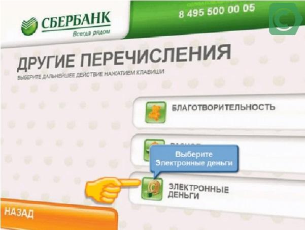 Пополнение кошелька через банкомат