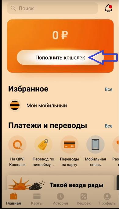 Главная страница приложения Киви