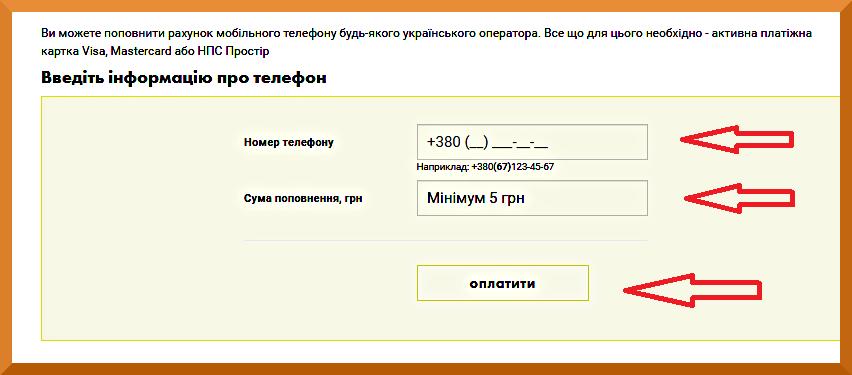 пополнение баланса на сайте Ощадбанк